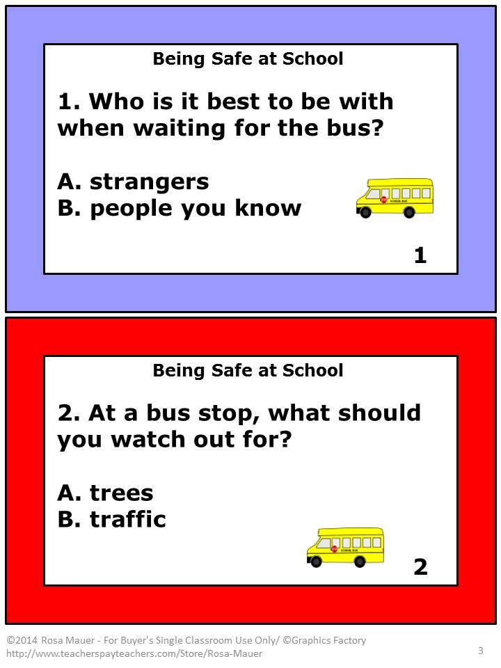 "Safety at school is the focus of these 20 multiple choice task cards. Use the cards with your own unit or to correspond with ""Being Safe at School"" by Susan Kesselring. A response form is provide for students and an answer key is given for the teacher."