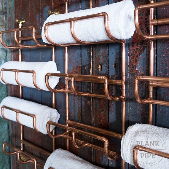 COPPER TOWEL RACK: 3 Tier - In a Natural or Polished & Lacquered finish. This handmade Towel Rack is made using 15mm & 22mm copper pipe. Each copper joint is professionally soldered making it a strong and one solid piece. The pictures show the copper in a Polished & Lacquered finish