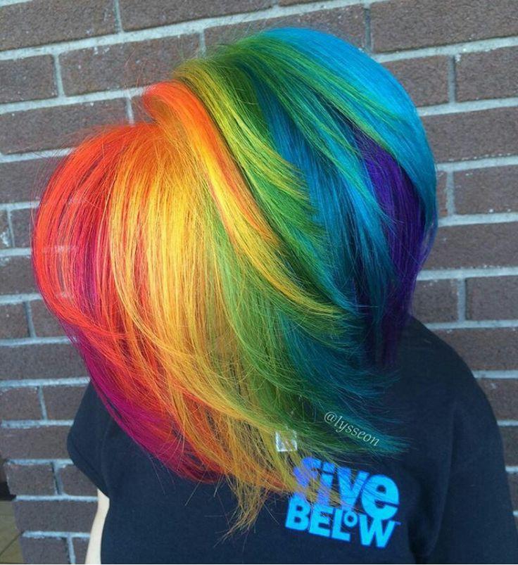 Gorgeous Rainbow Layered Asymetric Bob Vivid Hair Color