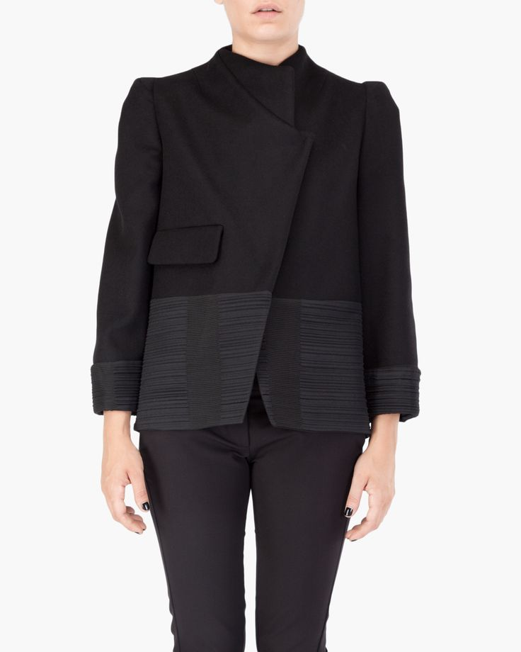 Malloni Short coat with front part closed with two press studs that create asymmetry hemline and cuffs have an inset in a ribbed fabric. The jacket is lined and has a welt pocket // Malloni Online Boutique