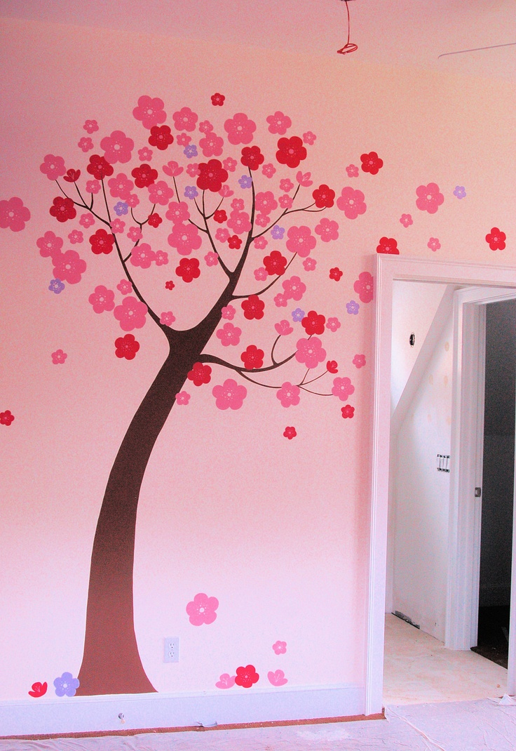 Hand painted stylized tree mural in children 39 s room by for Childrens bedroom wall designs