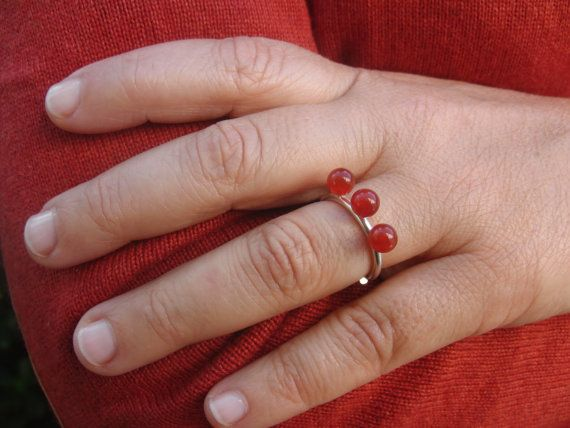 red carnelian  red carnelian ring  sterling by AMjewelryStudio