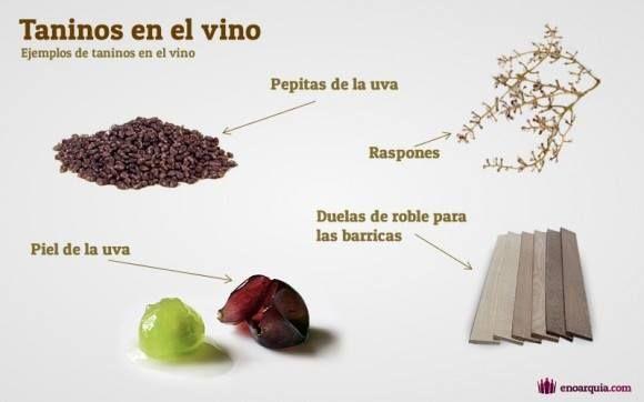 ¿Qué son los taninos del vino? Los taninos, son unas sustancias orgánicas vegetales que en la uva se encuentran en la piel y en las pepitas. También residen en la madera y en el raspón del racimo, es decir en el palillo. Vía enoarquia.com