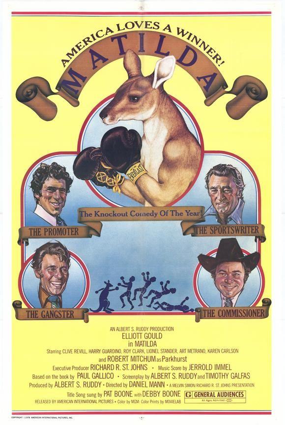 MATILDA (1978) - Elliott Gould - Robert Mitchum - Clive Revill - Harry Guardino - Roy Clark - Lionel Stander - Art Metrano - Karen Carlson - Produced by Albert S. Ruddy - Directed by Daniel Mann - American-International Pictures - Movie Poster.