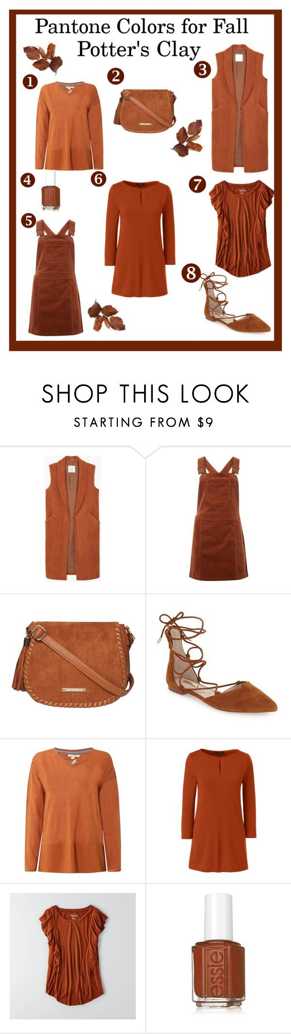 """""""Pantone Color For Fall: Potter's Clay"""" by lanaebond ❤ liked on Polyvore featuring MANGO, Dorothy Perkins, Louise et Cie, White Stuff, Lands' End, American Eagle Outfitters and Essie"""