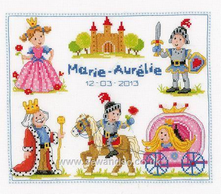 Knights & Princesses Birth Sampler - Sew and So - Vervaco