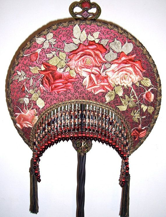 Embroidered Roses Antique Floor Lamp Hand Made by peacockgypsy, $2800.00