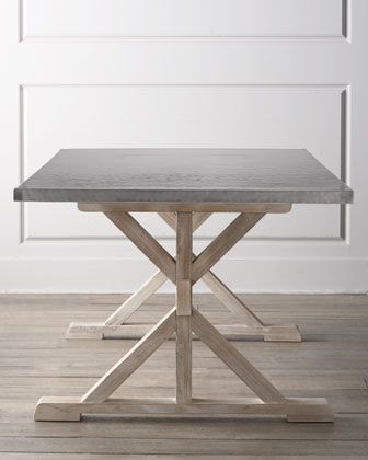 """""""Fowler"""" Dining Table by Bernhardt at Horchow - hand-hammered stainless steel top and base made of mindi solids and European beechwood Dimensions: 80W X 40""""D X 30""""H"""