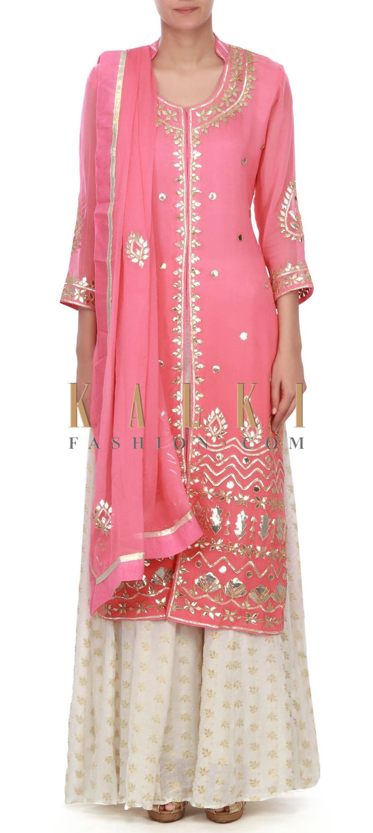 Buy this Pink straight suit in gotta patch work only on Kalki