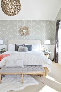 accent wall behind bed chimney - Google Search                                                                                                                                                                                 More