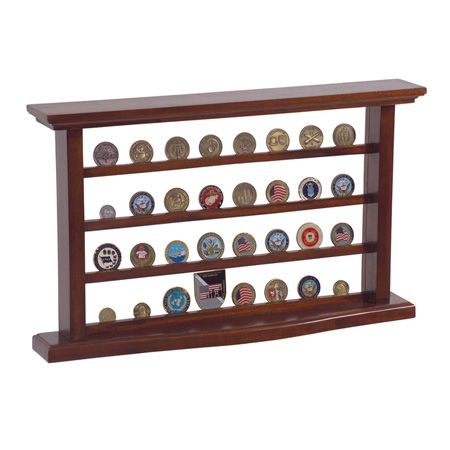 Military Challenge Coin Display Case-ur Military Challenge Coin Display Case is an attractive and practical way to show your challenge coins to friends and family. This case will free up space in your cabinets and drawers as it shows off your special coin collection in a professional-looking manner.  Constructed from solid mahogany wood, this standing display features a curved base that is designed to be more stable and look great. The display panel offers a front and back view of your…