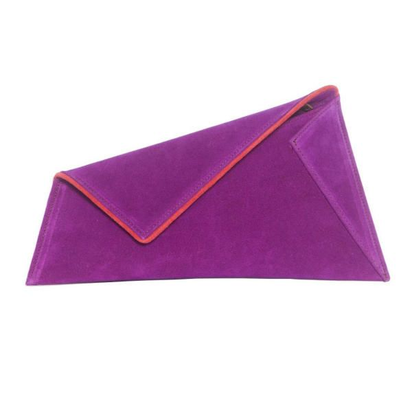 Small Purple Suede Clutch Bag by Georgina