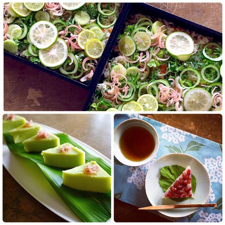 ライムやみょうが、ハーブの香りがさわやかな夏のベジばら寿司  お出汁が香る枝豆豆腐  季節のフルーツと野菜の白和え  冷たいトマトのお吸い物  水無月