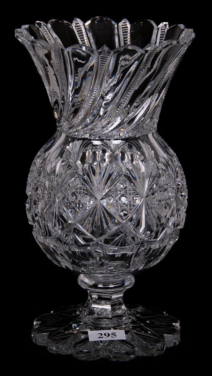 "Wavebid - March 4, 2017 - St. Charles Convention Center - Item # 295 - PEDESTAL VASE - 8.5"" - ABCG - CROESUS PATTERN BY J. HOARE"