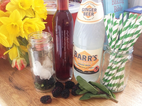 Ingredients for Zoe's berry filled cocktail. Ginger beer, blackberries, mint leaves and blackcurrant vodka liqueur.