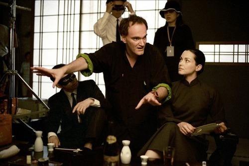 Quentin Tarantino and Julie Dreyfus on-set of Kill Bill