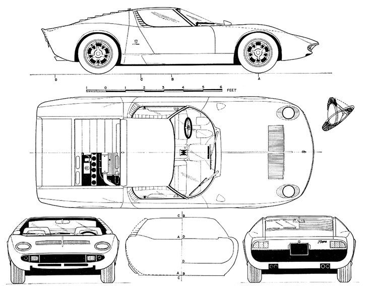 Lamborghini Miura Blueprints Sketches Pinterest