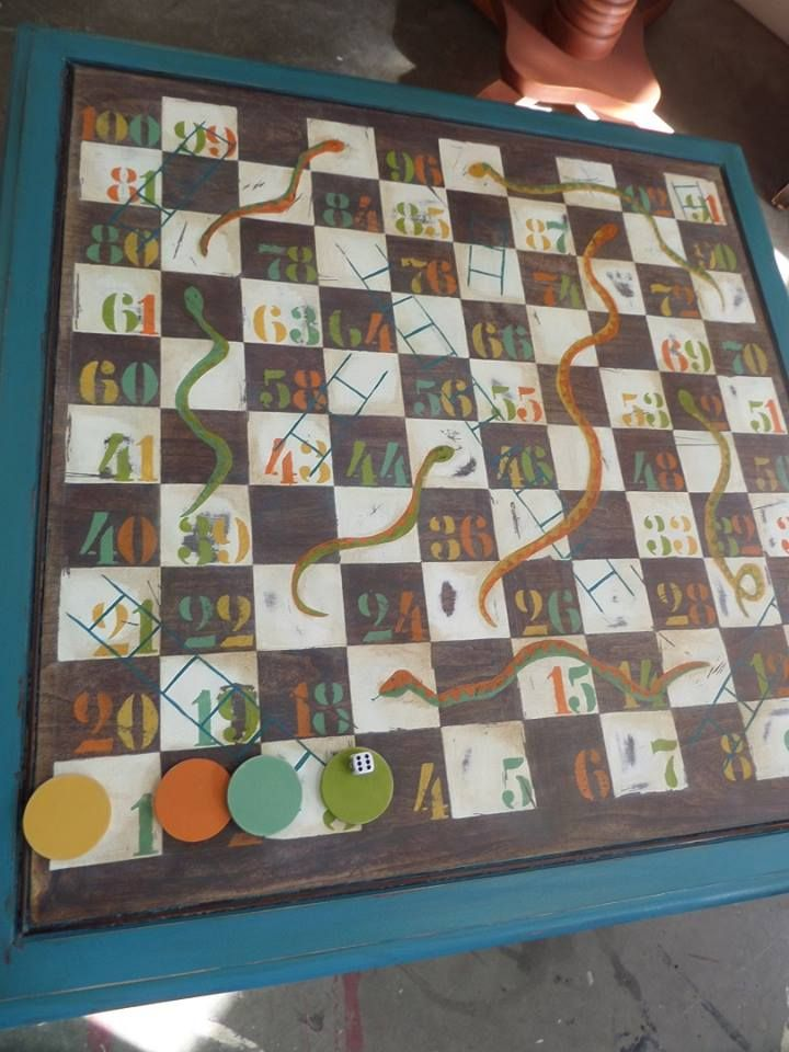 Snakes and ladders table.