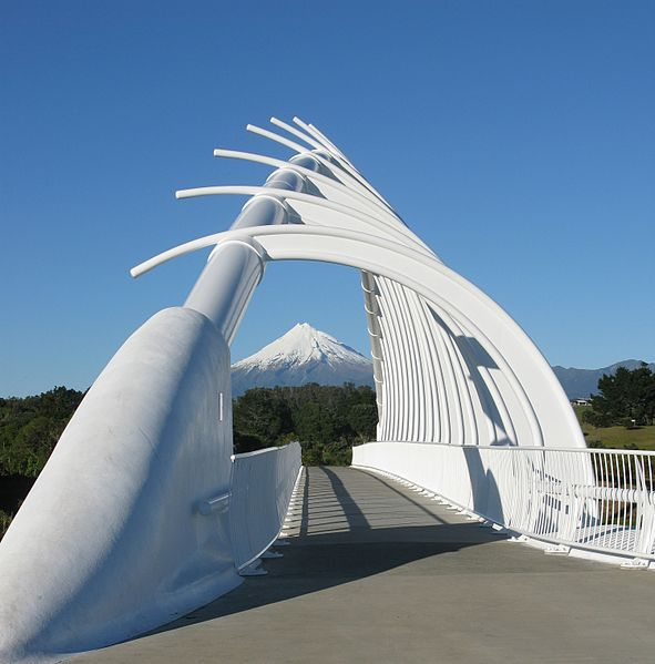Te Rewa Rewa Bridge looking through to Mount Taranaki