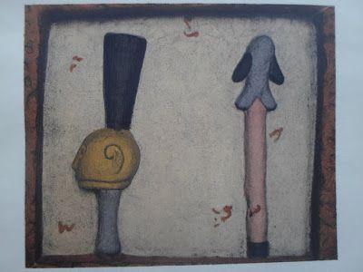 cavalier Nago dont la tête fut enfilée à la queue de son cheval et servit ainsi d'accessoire de danse.  A droite, récade de Glèlè : elle représente ce roi sous l'aspect d'un petit poisson appelé sosogloè « qui étant couvert d'écailles acérées déchirant ses agresseurs, resterait dans la gorge du crocodile qui s'aviserait de le manger » Archives sur le Dahomey, actuel Bénin, bas reliefs Glele