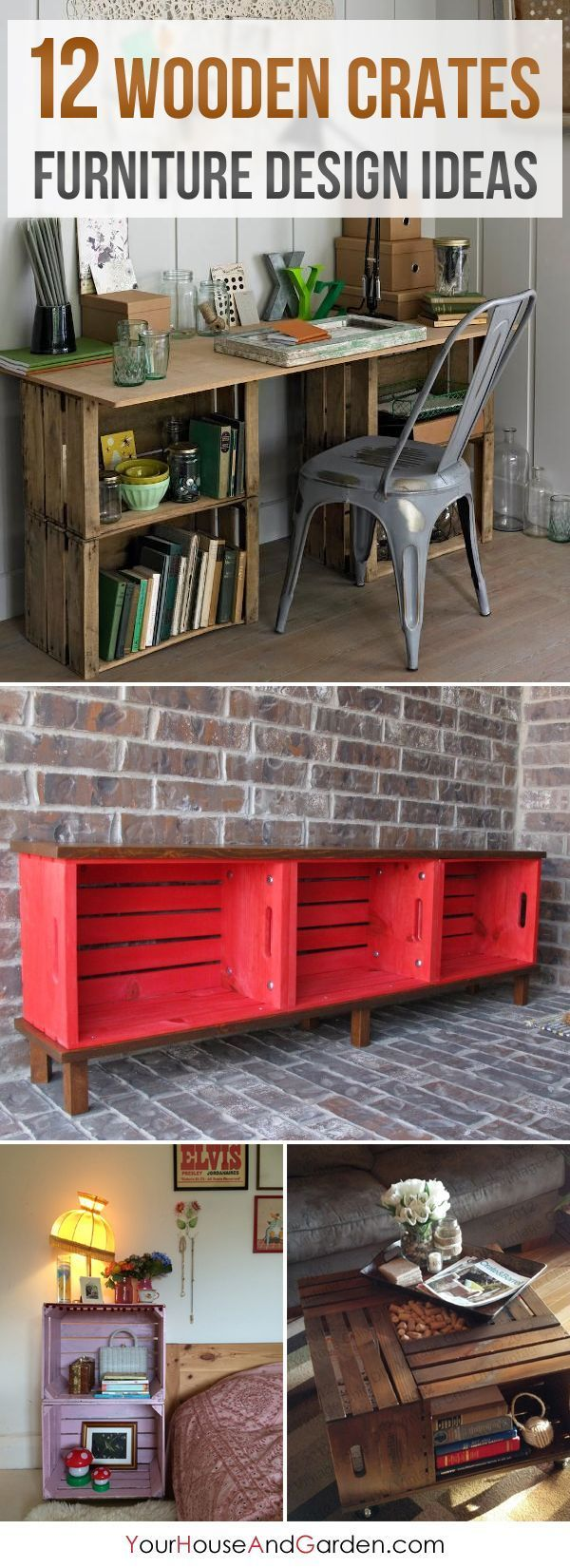 12 Amazing Wooden Crates Furniture Design Ideas - Wooden crates can be an inexpensive way to create almost anything for the home decor. building furniture building projects