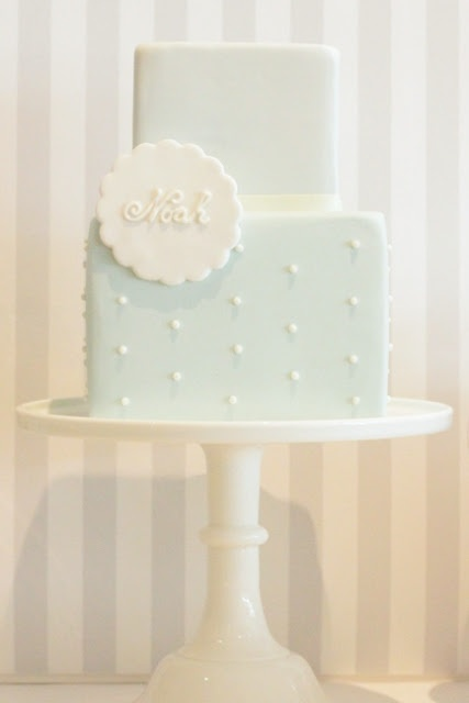 baby shower boy cake. Maybe put chevron on the bottom layer and move the pearls to the top layer