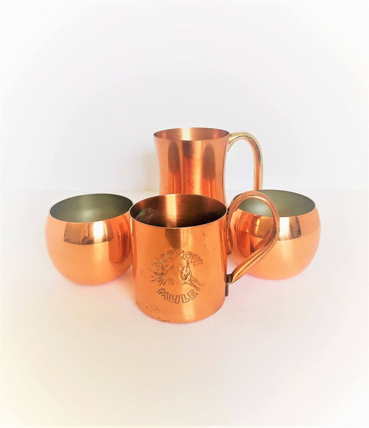 vintage copper mugs lot of Moscow mule copper mugs vintage copper barware Moscow mule copper set of four vintage copper mugs drinkware by GlyndasVintageshop on Etsy $38