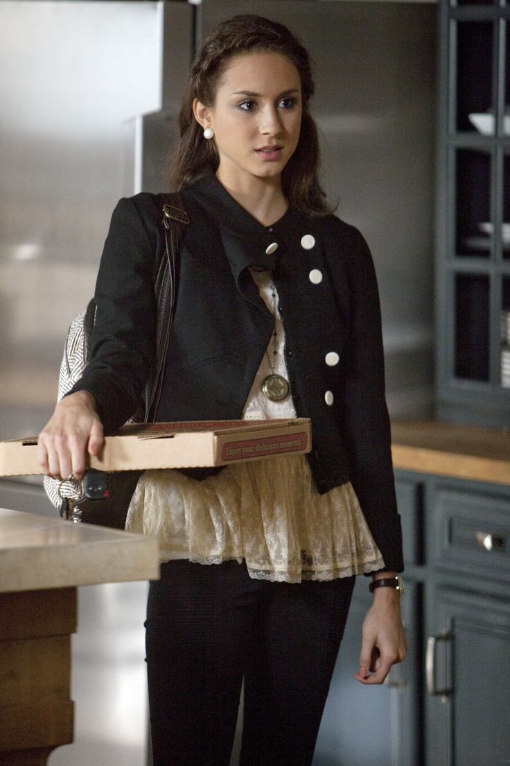 We love Spencer's jacket and lace peplum top! #PLL