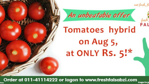 FreshFalSabzi is the place for you! It is a leading known for its quality service in supplying fresh fruits and vegetables online in Delhi. The quality is great and the prices are quite affordable. So now, the fresh fruits and vegetables are made just a click away from you. Order them online, and they will be delivered right to your doorstep.