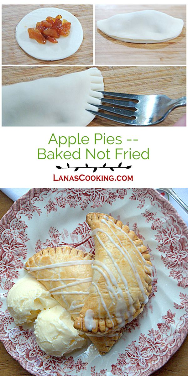 Apple Pies - Baked Not Fried. Individual, baked apple pies topped with a drizzle of sugar glaze. From @NevrEnoughThyme http://www.lanascooking.com/apple-pies-baked-not-fried/ via @NevrEnoughThyme