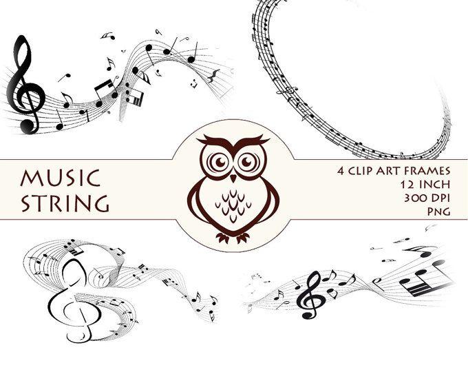 Digitale muziek STRING kalligrafie digitale Frames illustraties Scrapbooking bruiloft digitale Clipart grens Frames leveringen uitnodiging