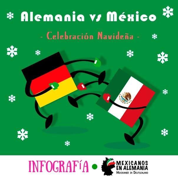 Alemania vs México - Celebración de Navidad #infografía #MexicanosEnAlemania #Navidad #FelizNavidad