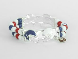 Red, White, and Blue Stretch Bead Bracelet with Red White and Blue Helmets and a Dainty Dangle Football Charm