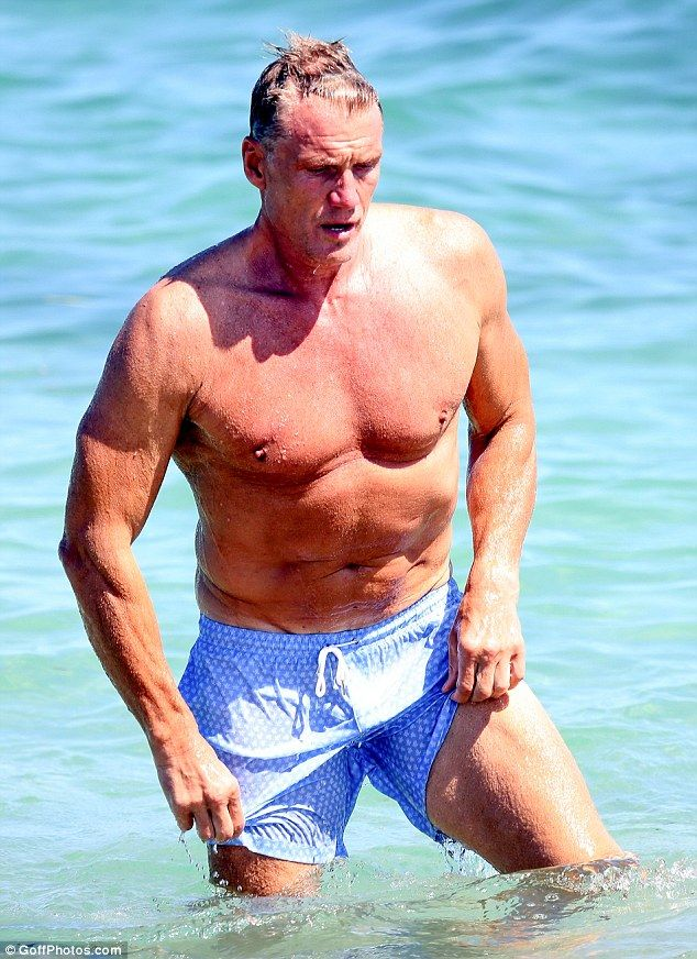 Hot stuff:Swedish actor Dolph Lundgren, 58, clearly hasn't lost his physical prowess - as he proved in Saint Tropez on Monday