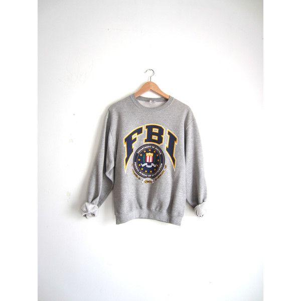Vintage 90s FBI Grey Sweatshirt (50 CAD) ❤ liked on Polyvore featuring tops, hoodies, sweatshirts, sweaters, hoodies and sweatshirts, vintage hooded sweatshirt, grey hoodie sweatshirt, hooded pullover sweatshirt, grey hoodie and gray sweatshirt