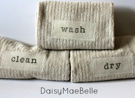 cute stamped hand towels