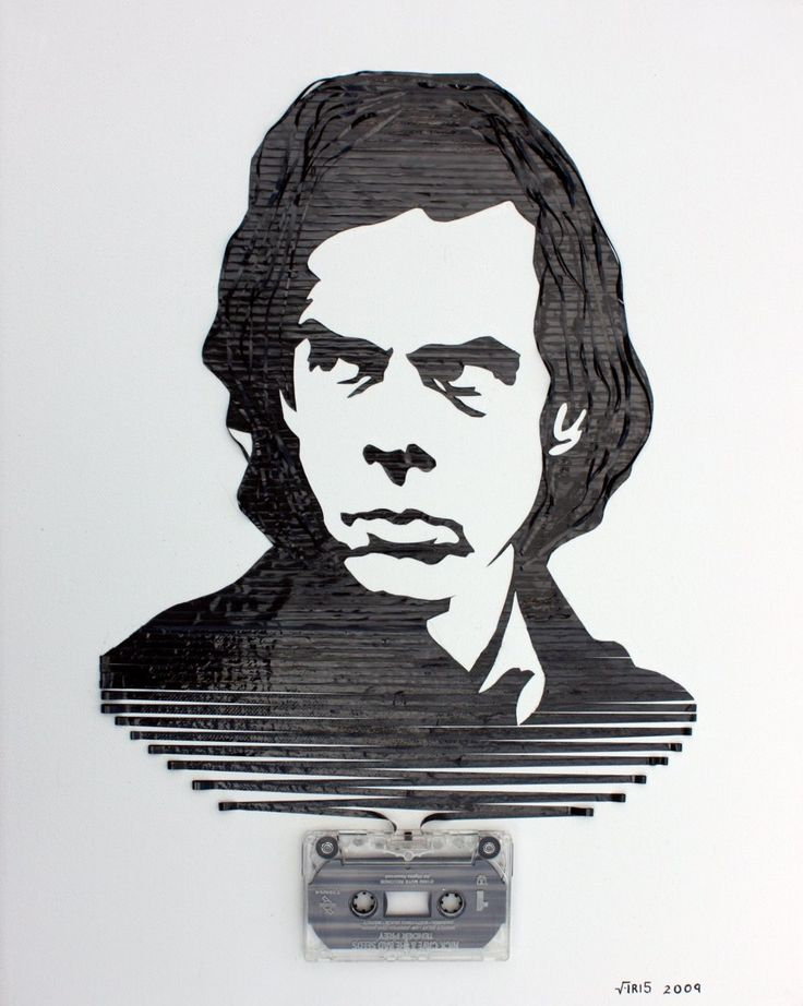 Analog tape art by Iri5: Nick Cave illustrated using cassette tape.