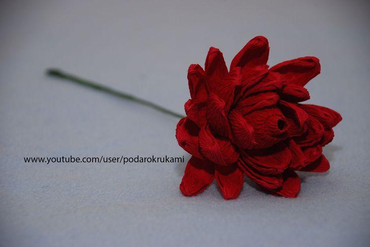 """Цветы из гофрированной бумаги и конфет. Мастер класс по изготовлению цветка """"Георгины"""" из конфет и гофрированной бумаги. Master class on making a flower """"Dah..."""