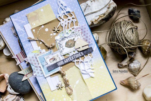 Katya Pogodina. Из обрезков бумаги, ткани, кружева и прочего, у меня сложилась серия морских открыток.