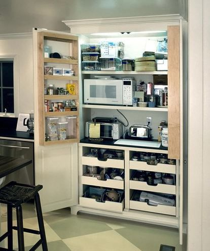 I like this hidden workspace decorating ideas for Hidden kitchen storage ideas