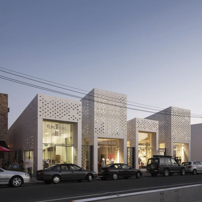 Perforated facade detail. EQUITONE facade materials. Retail project by RTA architects, Auckland. www.equitone.com