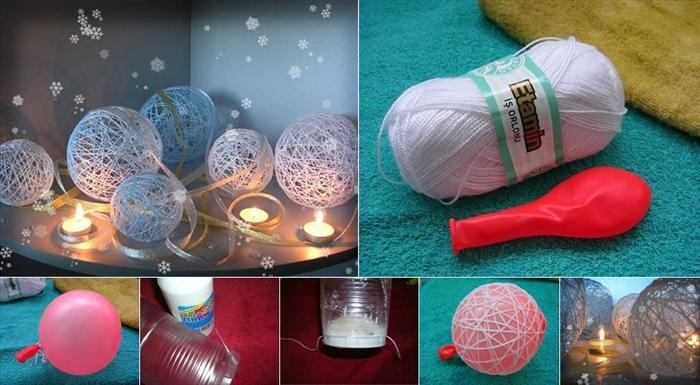 Mobile balls of wool - volume balloon. Pour white glue and disposable glass wool yarn dipped. Pepo the string around the balloon and let the glue dry. Blew up the balloon and pull the rubber out of the ball.