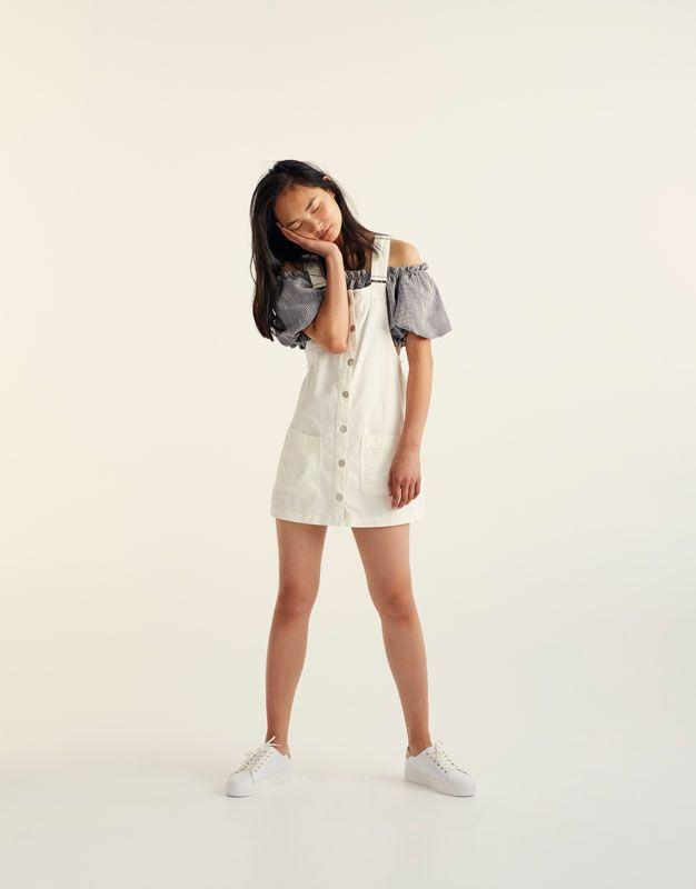 :Button-up denim pinafore dress
