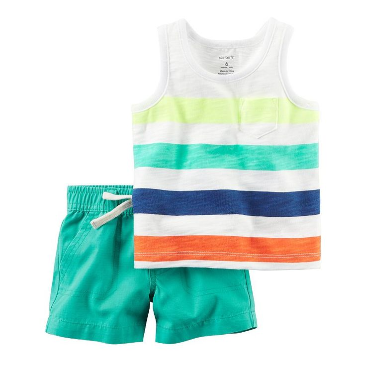 Baby Boy Carter's Striped Pocket Tank Top & Turquoise Shorts Set, Size: 9 months, Turquoise/Blue (Turq/Aqua)