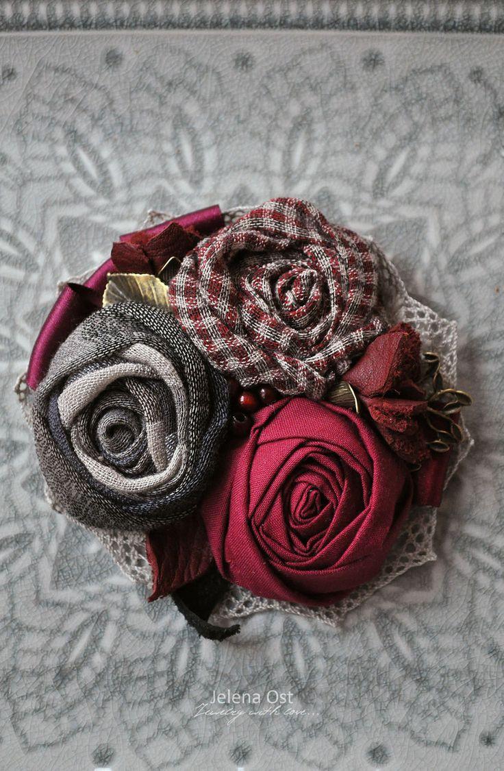 """Купить Текстильная брошь """"Ноябрь. Гармония."""" - брошь, брошь цветок, роза, брошь роза"""
