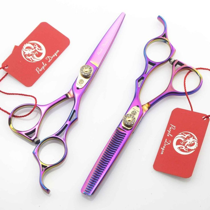 54.98$  Buy here - http://aitpu.worlditems.win/all/product.php?id=32498909252 - 2pcs/set 5.5 inch Purple Dragon colorful personality hairdressing scissors barber scissors thinning scissors to send package