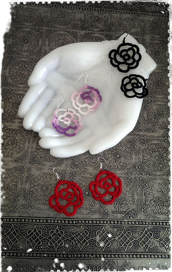 Tatting Lace Earrings  Rose   PETIT ROSE   by CandiedCherrybyKC, $10.00
