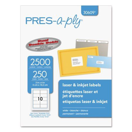 Pres-a-ply Laser Shipping Labels, 2 x 4, White, 2500/Box