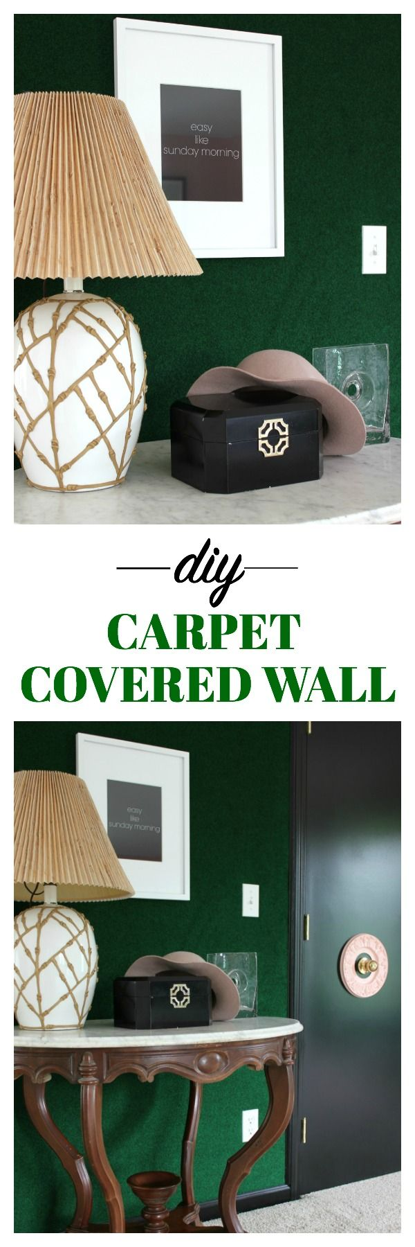 What a great idea! The carpet brings a whole other element to the space! Easy and cheap to do as well! DIY Green Carpet Covered Wall | Palm Beach Design Style | Palm Springs Design Style | Astroturf Covered Wall