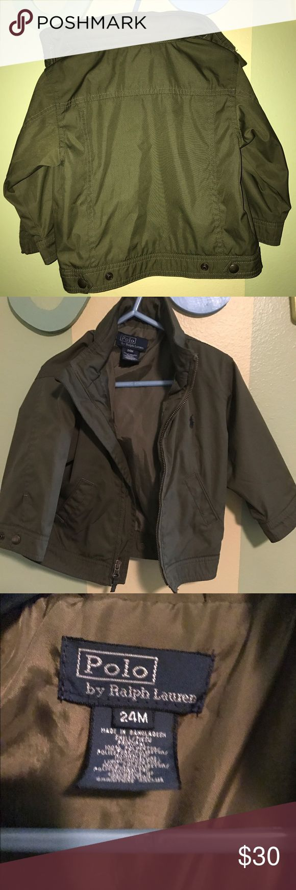 Olive Green 24mo polo jacket. NWOT -NEVER WORN. Olive green-zip away hood- jacket for toddler boy. Cute jacket. Water resistant Lauren Ralph Lauren Jackets & Coats